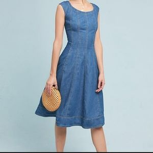 Anthro Pilcro Chambray Fit and Flare Dress